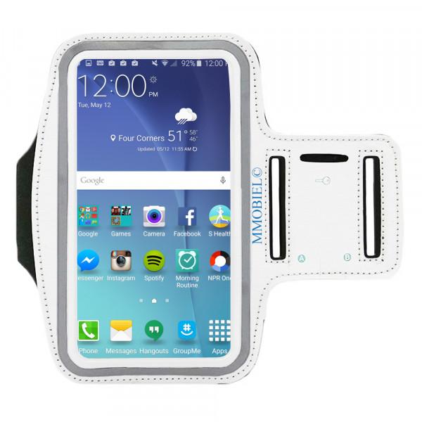 MMOBIEL Sport / Hardloop Armband voor Samsung S20 / S10 Plus / S10 / S10 Plus / S9 / S9 Plus / S8 / S8 Plus / Note 10 / Note 8 Comfortabel, Verstelbaar, Koptelefoon Aansluitruimte en Sleutelhouder - Lengte 160 mm & Breedte 80 mm - Wit
