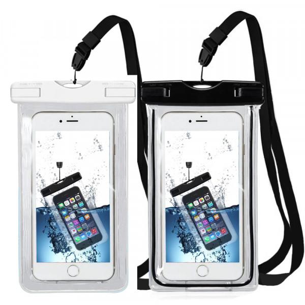 2x Wasserdichte Handytasche Universal für alle Smartphones (SCHWARZ + WEISS)