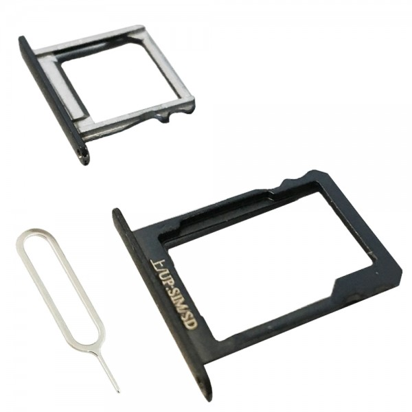 Set with 1 SIM and 1 SD card Tray for Huawei P8 5.2 inch (Black) incl. Sim Pin