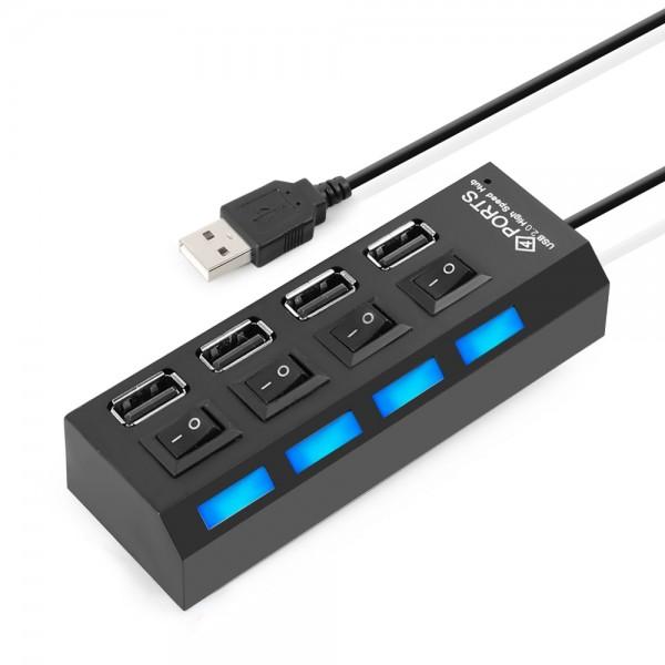 High Speed 4 Ports 2.0 USB-Hub Multi-Ladeadapter mit Ein / Aus-Taste + LED