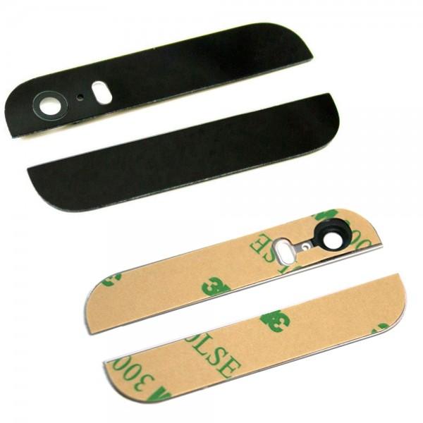 MMOBIEL Boven en Onder Glas Backcover met Glazen Lens voor iPhone 5S / SE (ZWART) - inclusief Zelfklevende Stickers
